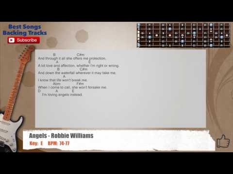 Angels - Robbie WilliamsGuitar Backing Track with scale, chords and lyrics
