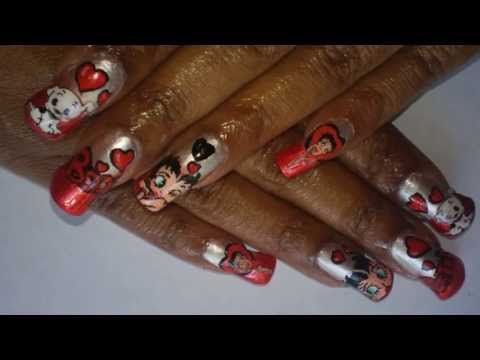 Re Notw Betty Boop Nail Art Design Red Siilver Youtube