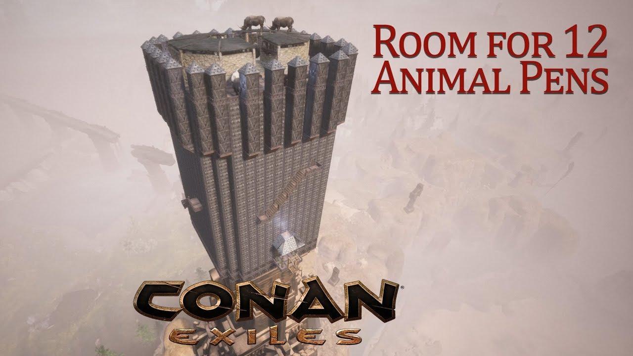 Conan Exiles - Mass Taming Tower, 12 Animal Pens (Speed Build)