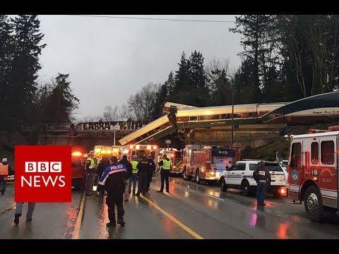 Washington train crash: Rail carriages fall on US motorway - BBC News