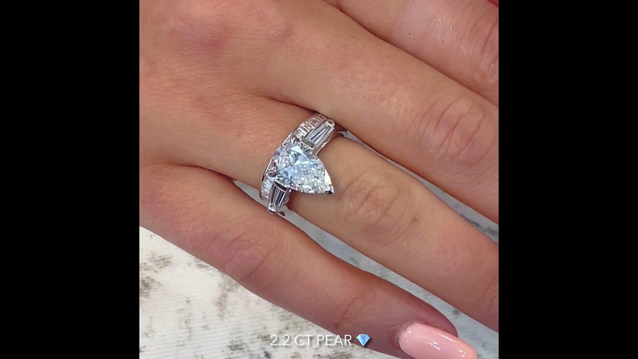 2.2 carat Pear Shape Diamond Three-Stone Engagement Ring