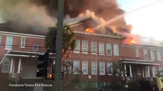 Massive fire at historic Robert E  Lee elementary school in Tampa   @ NEWSXPS