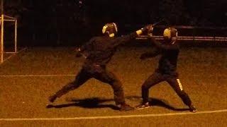Красивый ножевой бой. Инструктор против учеников. Школа