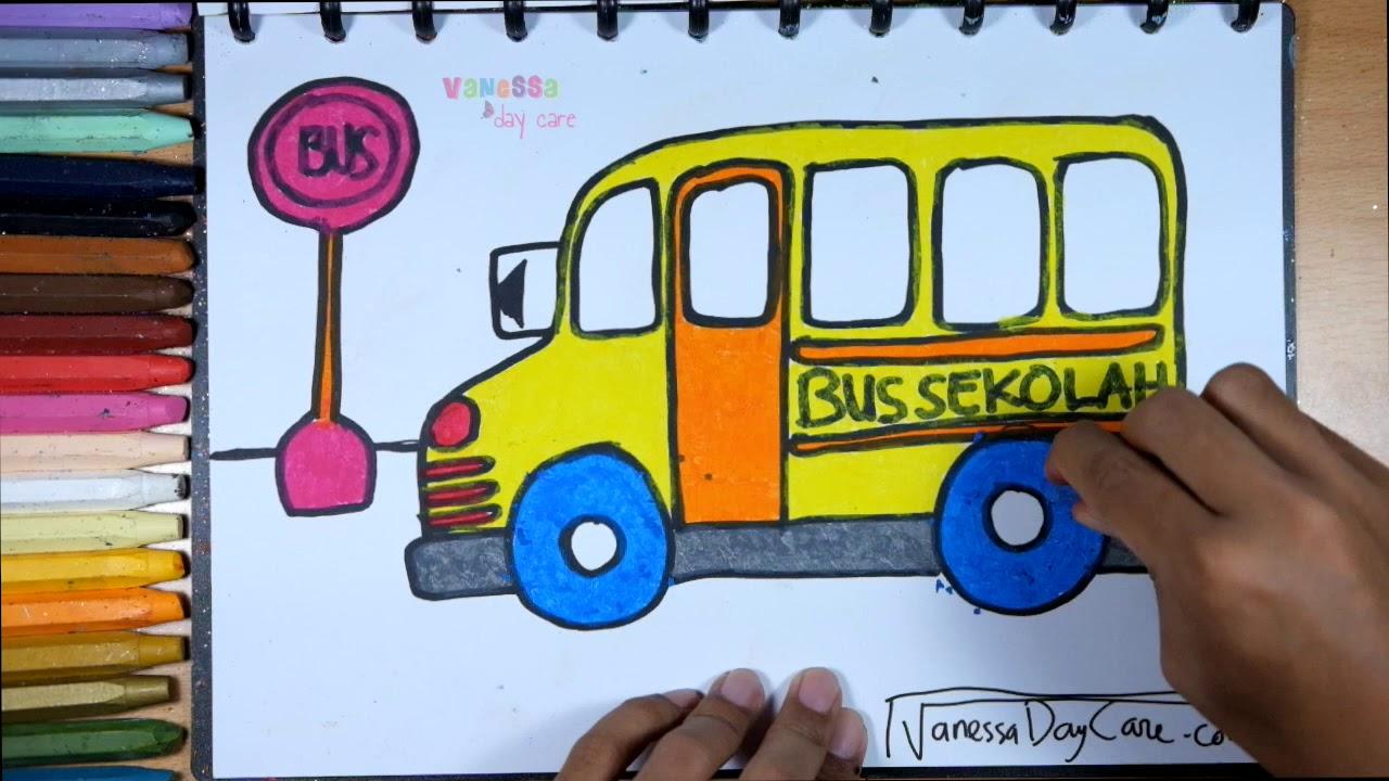 Gliter Bus Sekolah Cara Menggambar Dan Mewarnai Untuk Anak