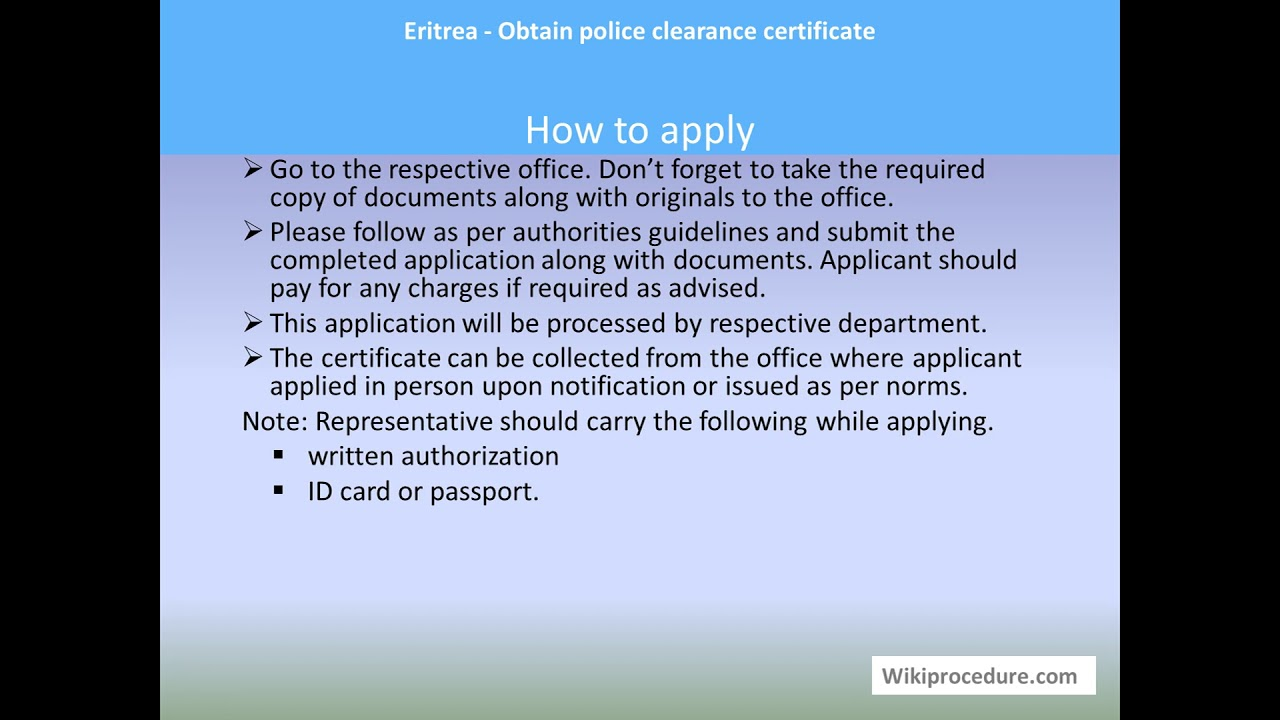 Eritrea Obtain Police Clearance Certificate