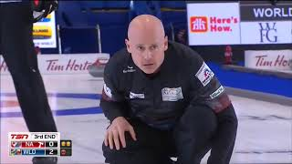 2018 WFG Continental Cup. Two great shots by Kevin Koe (perfect roll&hit for 4)