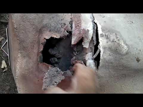 Сварочный ремонт банной печи из нержавейки, сварка электродами
