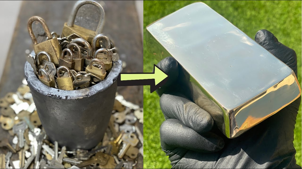 Padlock Bulk Key Melt Down - Trash To Treasure - ASMR Metal Melting - BigStackD Brass Casting