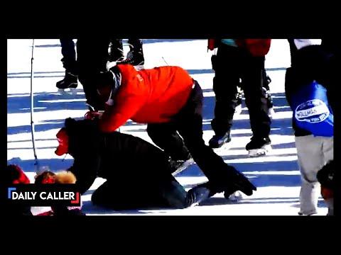 Trump Supporter Tackled On Central Park Skating Rink