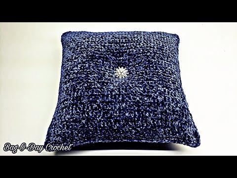 How To Crochet Easy Throw Pillow | Tufted Blue Velvet | BAGODAY CROCHET TUTORIAL #530