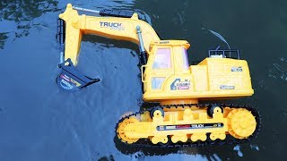 Rescue Toys Excavator In Water   Toy story   Construction Vehicles   Dump Truck   Crane