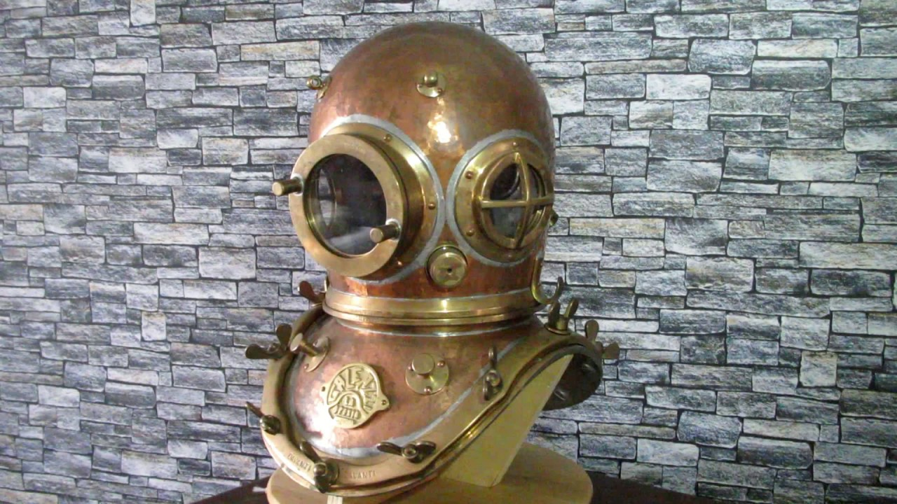 Galeazzi diving helmet and diving shoes for sale - YouTube
