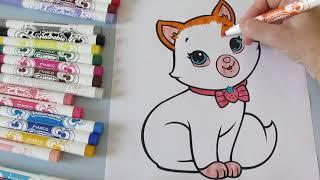 ОРАНЖЕВЫЙ КОТЕНОК Раскраска котенка с бабочкой