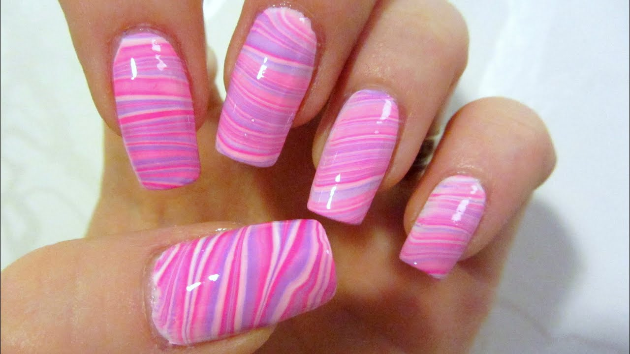 Pink and Purple Water Marble Design Nail Art Tutorial ...