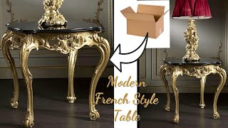 UNBELIEVABLE CARDBOARD SIDETABLE!  FRENCH SIDE TABLE MADE WITH CARDBOARD!!!