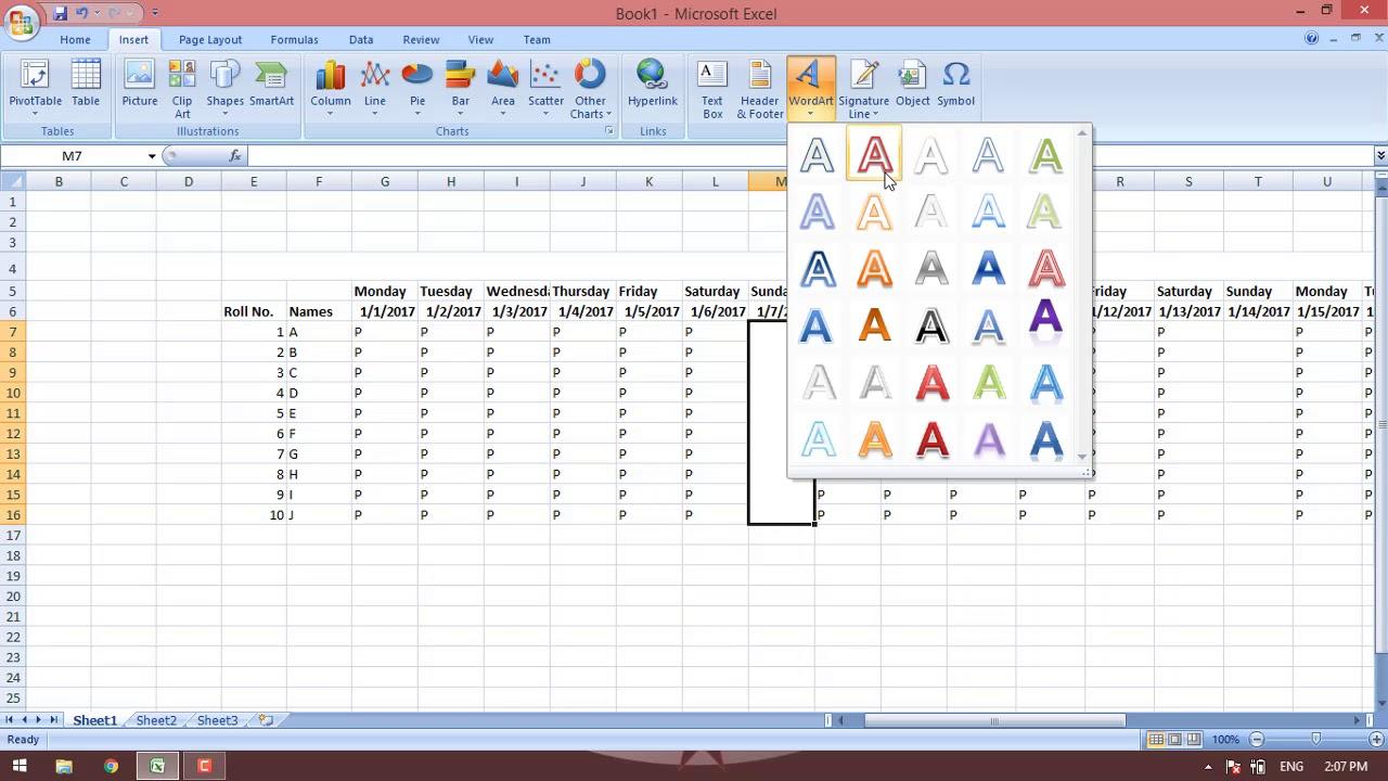 how to make simple attendance sheet in excel in hindi urdu ms