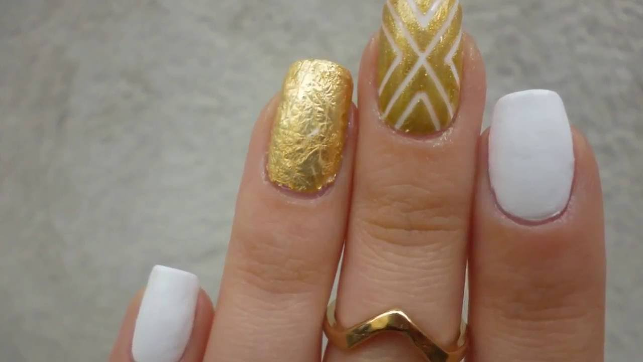 Amazing Gold White Nail Polish Design Using Nail Art Striping Tape