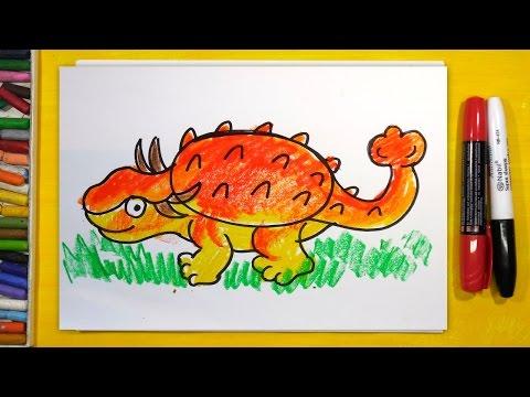 Как нарисовать Динозавра (АНКИЛОЗАВР) | Урок рисования для детей от 3 лет