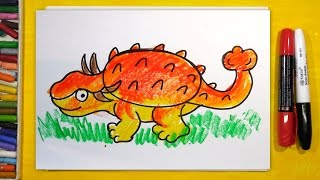 Как нарисовать Динозавра (АНКИЛОЗАВР) | Урок рисования для детей от 3 лет(Жду на своих занятиях рисования самых маленьких ребят. Пришло время занятия рисованием: рисуем динозавров...., 2016-05-20T12:00:35.000Z)