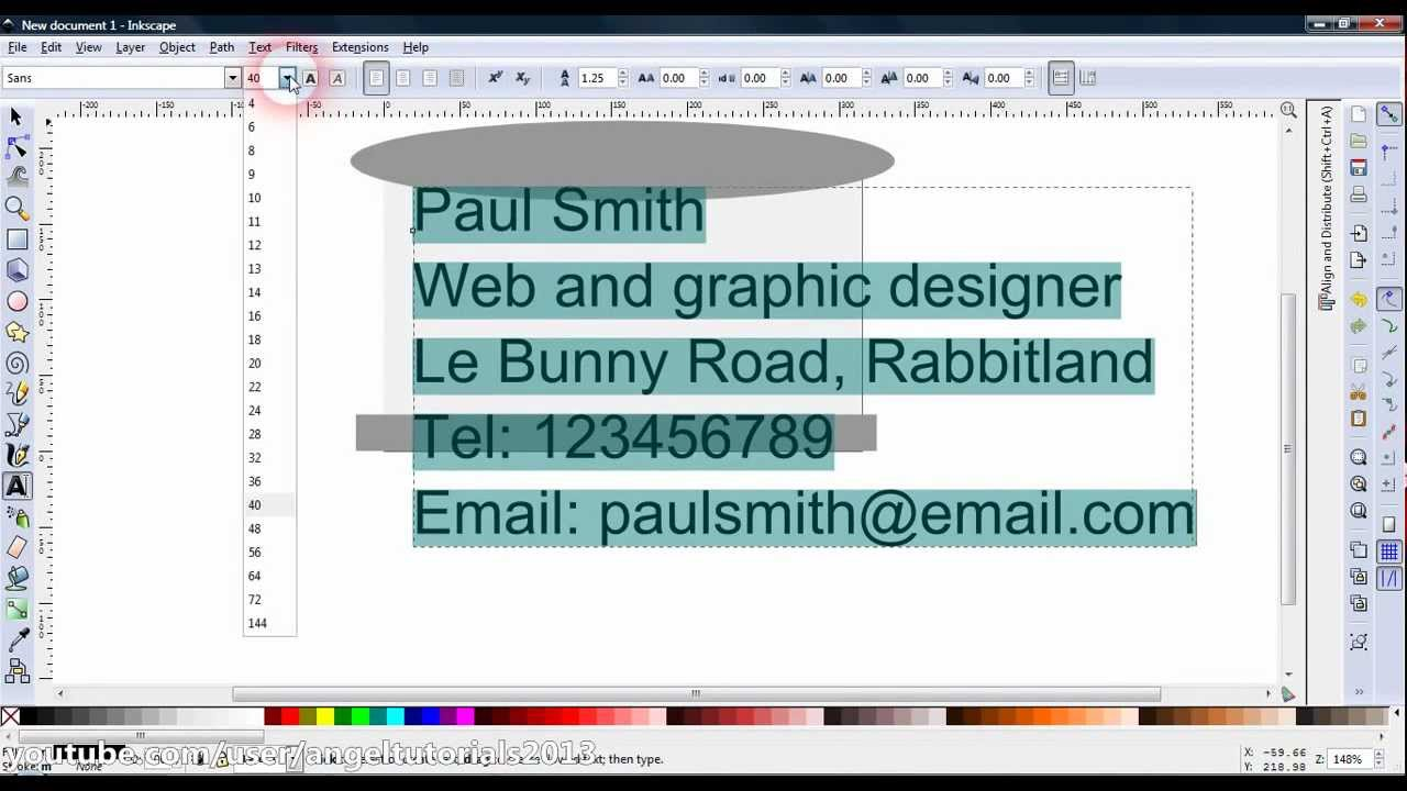 Inkscape tutorial - Minimalist business card - YouTube