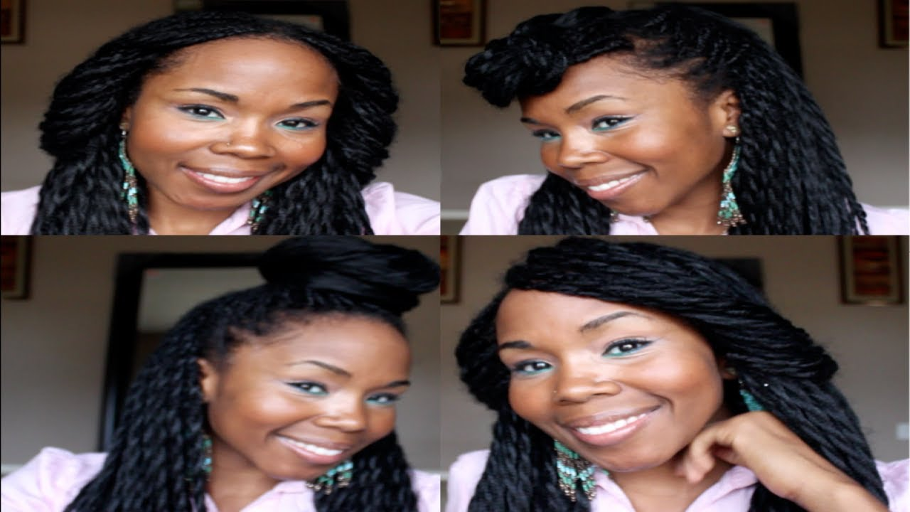 4 Easy Elegant Styles For Long Braids 2 Strand Twists Youtube