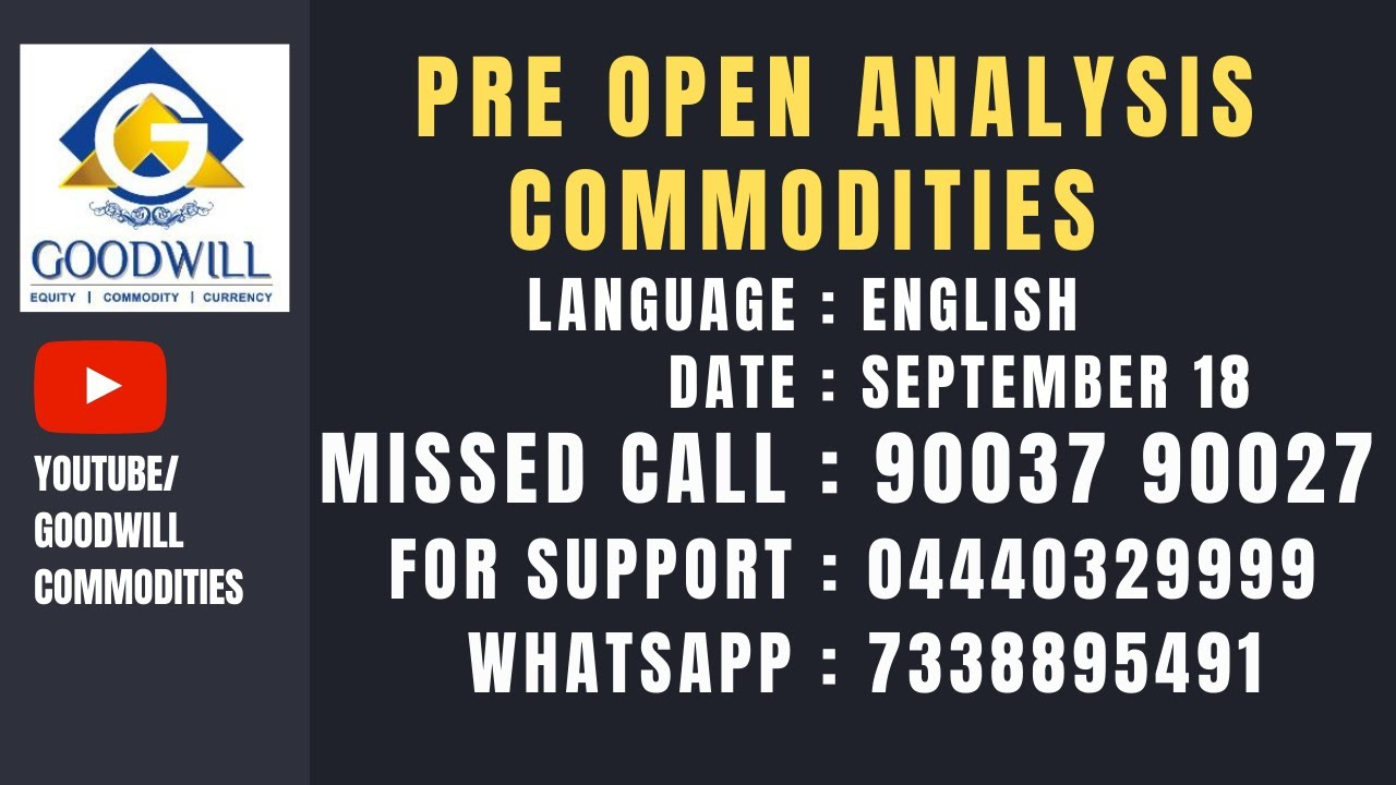 PRE OPEN ANALYSIS MCX COMMODITIES SEP 18 2020 ENGLISH