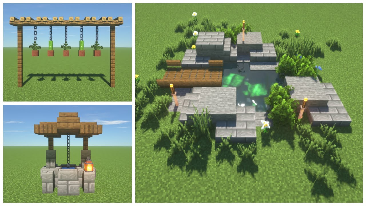 Minecraft: 7+ Garden Build Ideas and Hacks   Easy - YouTube
