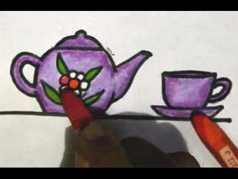 How To Draw A Teapot And A Cup Cara Menggambar Ceret Dan Cangkir