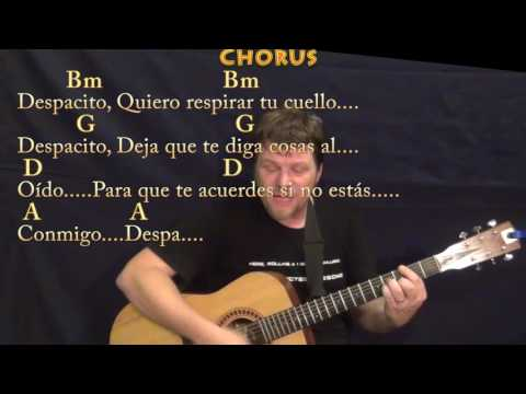 Despacito (Luis Fonsi/Justin Bieber) Guitar Cover Lesson in Bm  with Chords/Lyrics