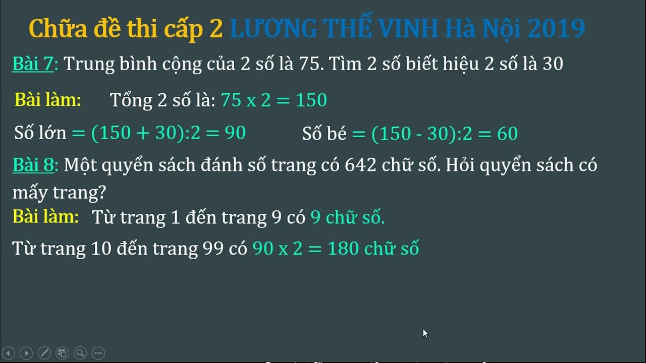 Chữa đề thi lớp 6 Lương Thế Vinh Hà Nội 2019