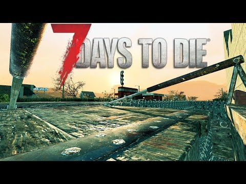 SPIKY MOAT | Let's Play 7 Days to Die Part 18 |  Drawbridge and Base Building | Alpha 15 Gameplay