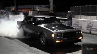 Wheels up! Buick Turbo T-Type Grand National  - Sparks on Landing - Drag Video - Road Test TV ®