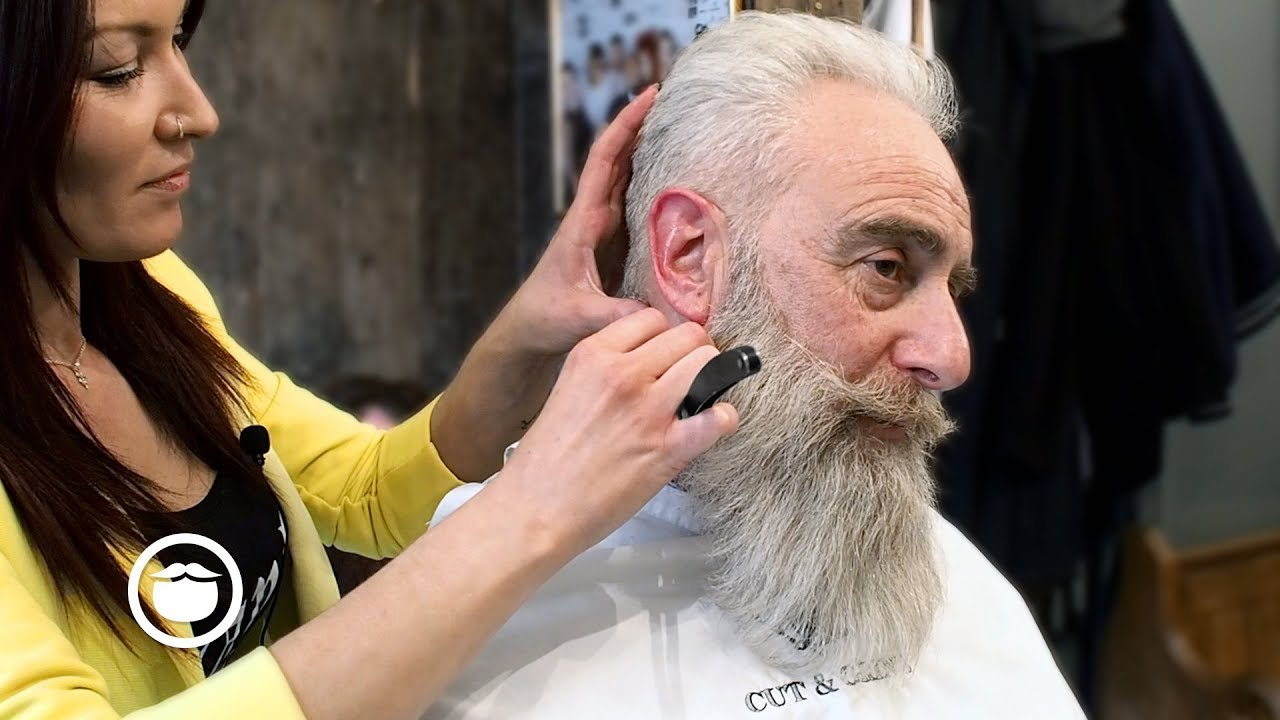 Old School Mens Haircut With Big Beard Trim Cut Grind Youtube