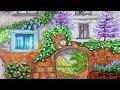French Garden Gate Cottage House Purple Trees Landscape Illustration | Simple Life Art