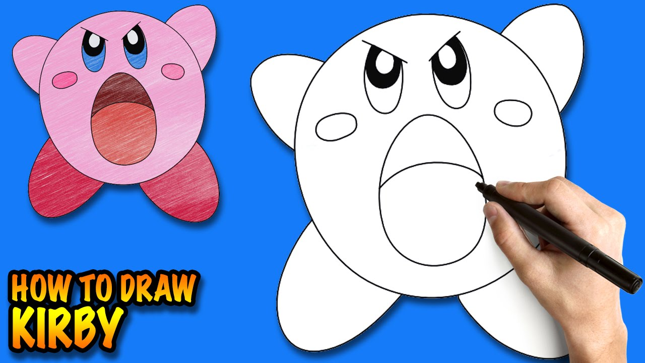 How to draw Kirby - Easy step-by-step drawing lessons for ...