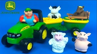 JOHN DEERE ANIMAL SOUNDS HAY RIDE WITH TRACTOR HORSE SHEEP COW AND PIG FARMER & OLD MCDONALD SONG