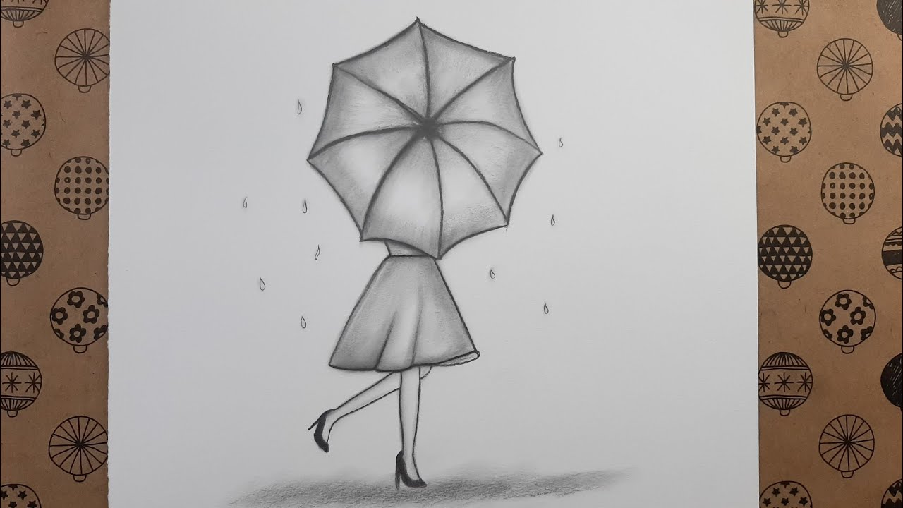 Şemsiyeli Kız Çizimi #3 - Drawing Girl with Umbrella # 3