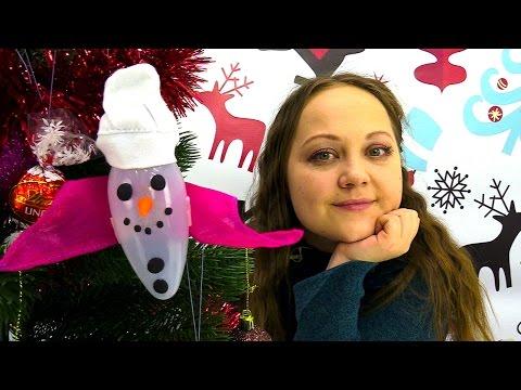 Поделки на Новый Год: снеговик из лампочки! Новогоднее видео с Миньонами и Плей До (Play Doh)