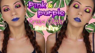 Pink, Purple & Green Glitter Halo Eye + Blue Lips Makeup Tutorial