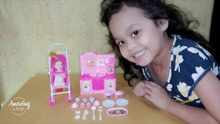 Unboxing Toys - Baby Doll Stroller and Kitchen Set Setup & Play #008