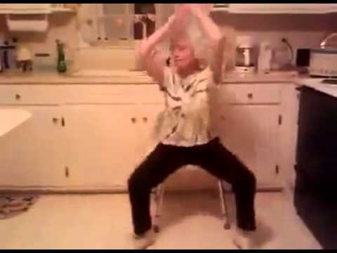 funny old lady dancing in the kitchen to music