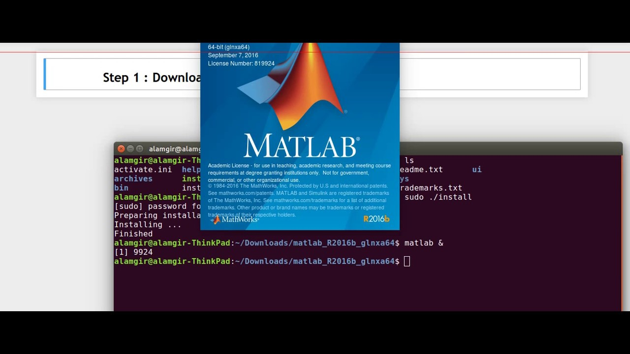 How to install Matlab (R2016b) in Ubuntu 16 04?