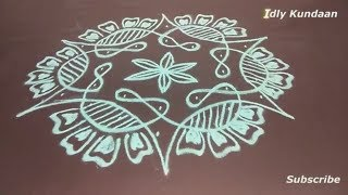 Creative Sikku Kolam with 7x4 Dots | Simple Dots Rangoli Designs | Melikala Muggulu with 7x4 Dots