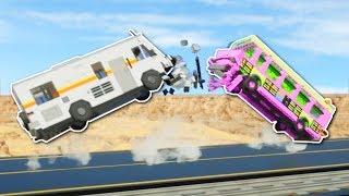 HEAD TO HEAD BRIDGE CRASHES! - Brick Rigs Multiplayer Gameplay - Bridge Crash Challenge!