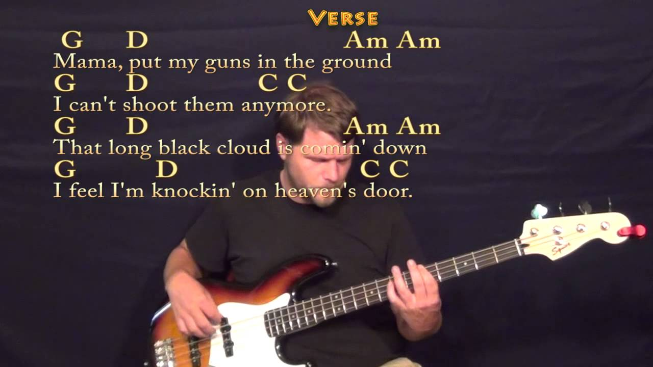 Knocking On Heavens Door Bob Dylan Bass Guitar Cover Lesson With
