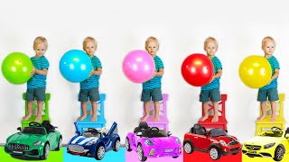 Learn COLORS with Five Little Monkeys and cars. Children's Songs and Videos