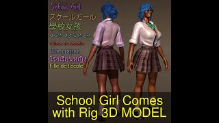 3D Model of School Girl Comes with Rig Review