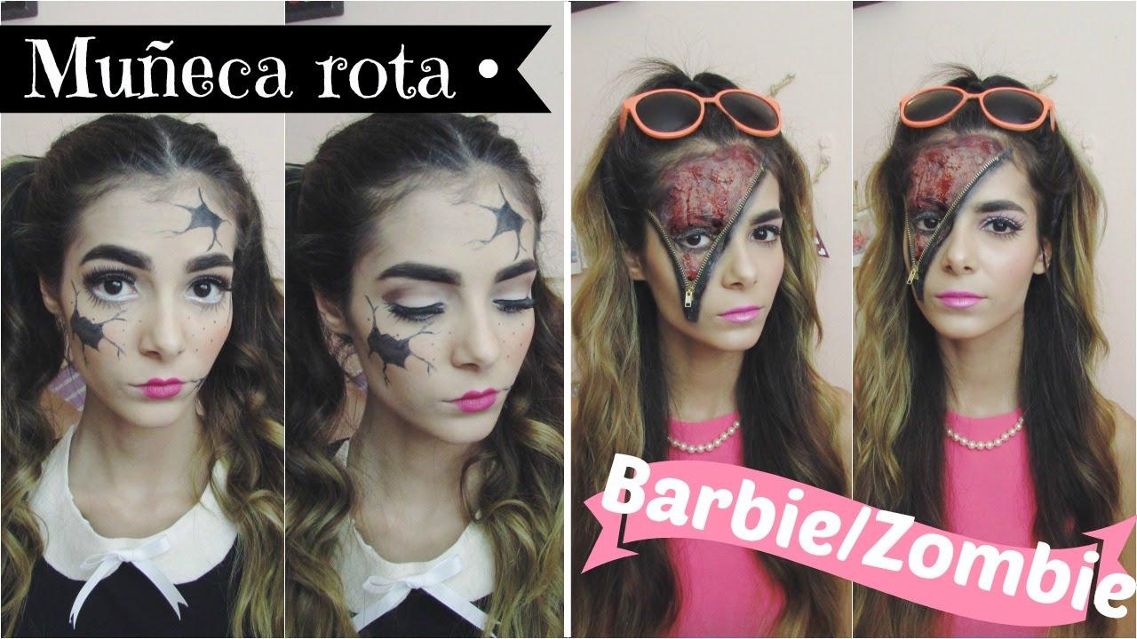 Disfraz Para Halloween De Muñeca Rota Y Barbie Con Zipper Parte 4 Celhelíz Youtube