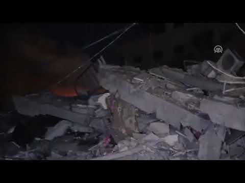 Vidéo #Israël bombarde les locaux de l'Agence #Anadolu dans la Bande de #Gaza 04/05/2019