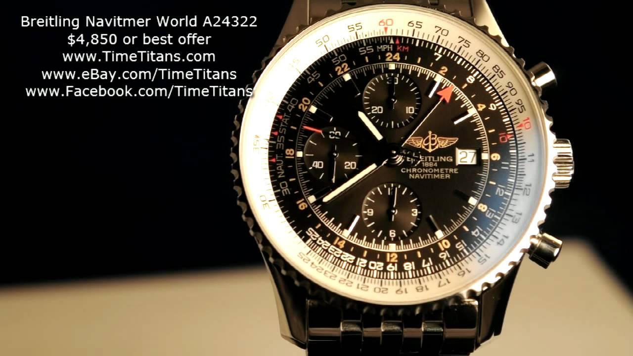 Breitling Navitimer World Gmt A24322 Full Set Black Dial